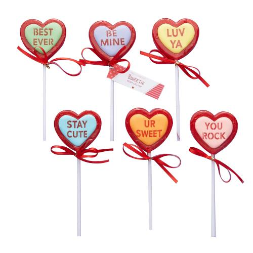 Valentines Conversation Heart Lollipops.
