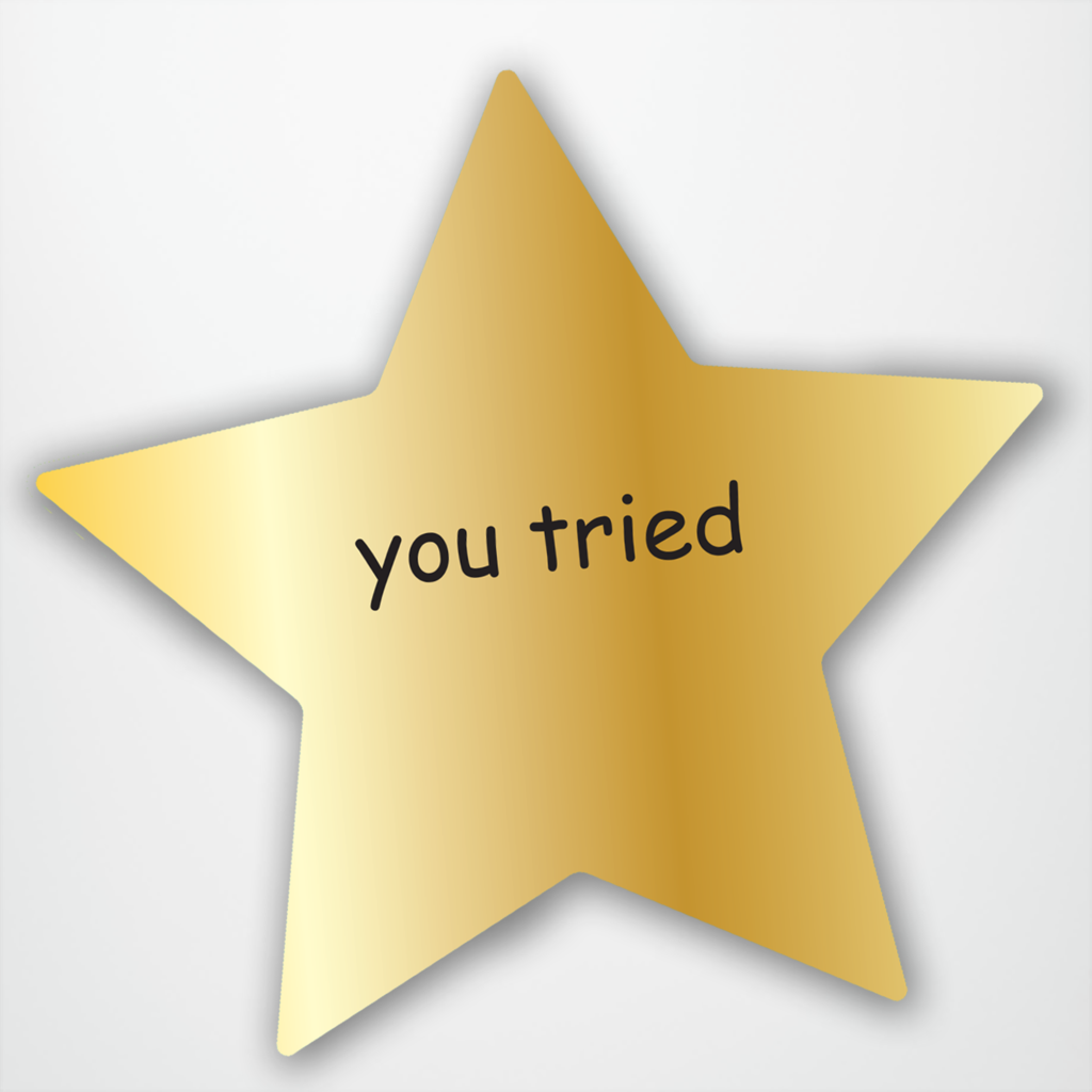 You Tried Comic Sans Gold Star.