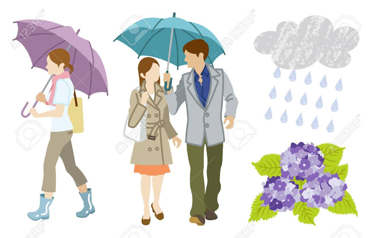 Rainy day Young Adults Clip Art set.