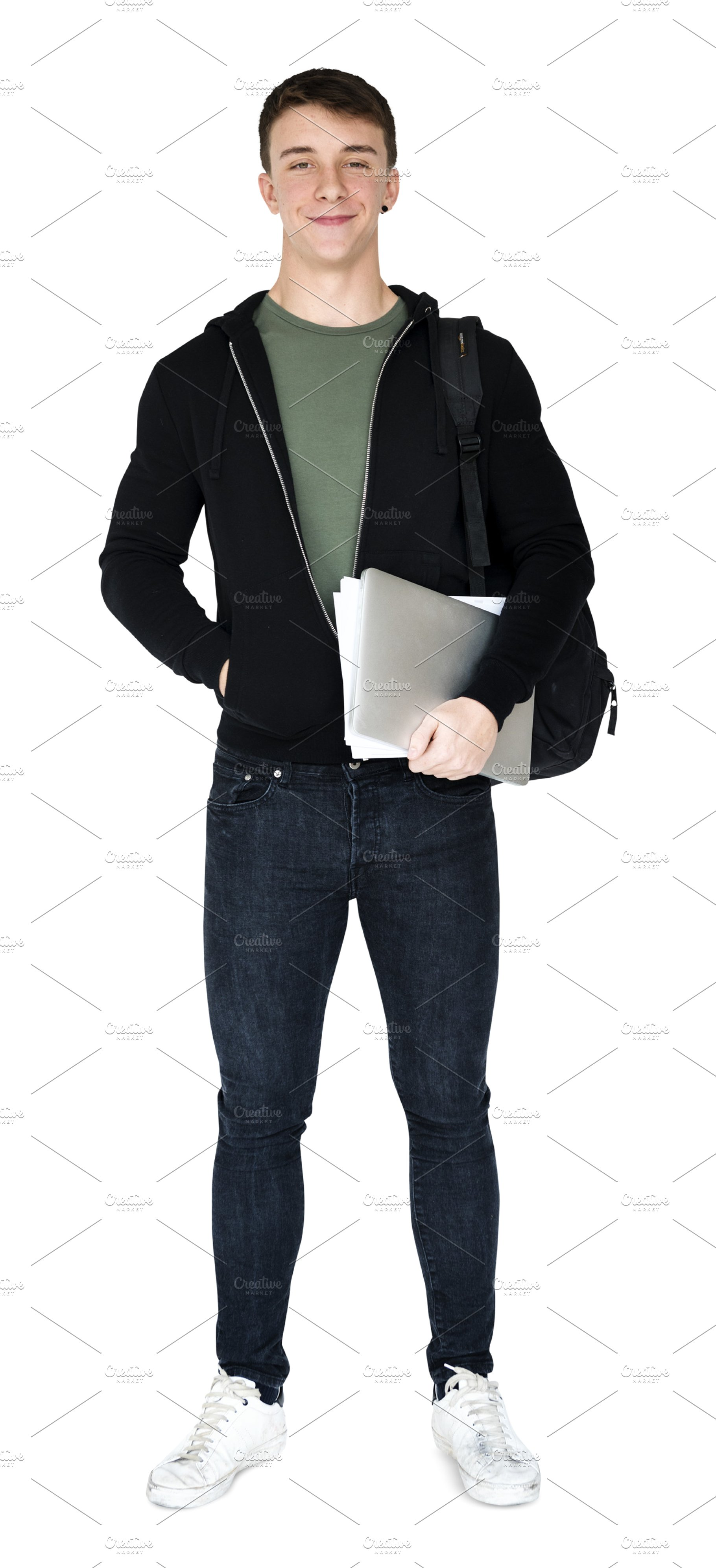 Young adult man smiling (PNG).