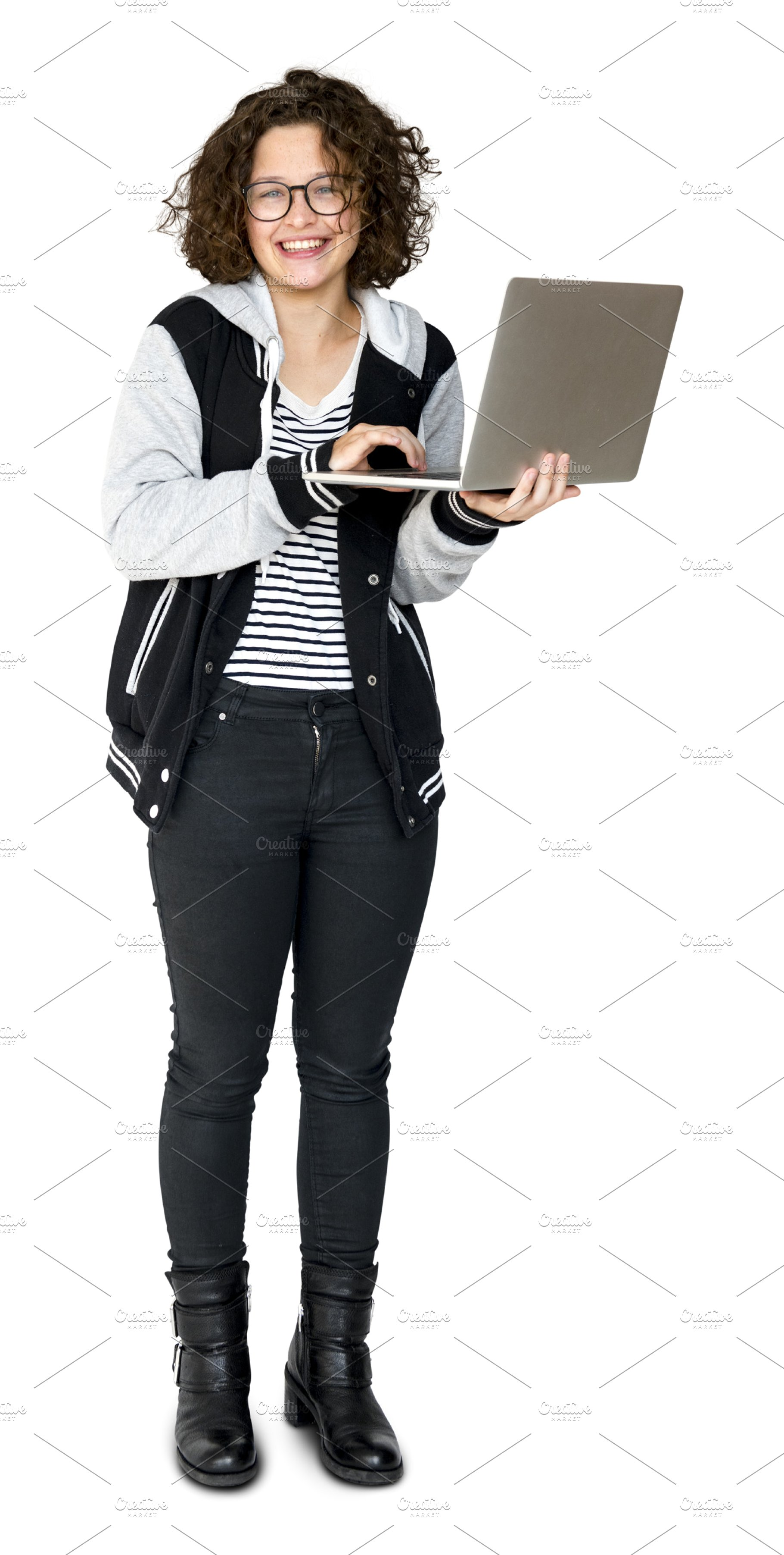Young adult using laptop (PNG).