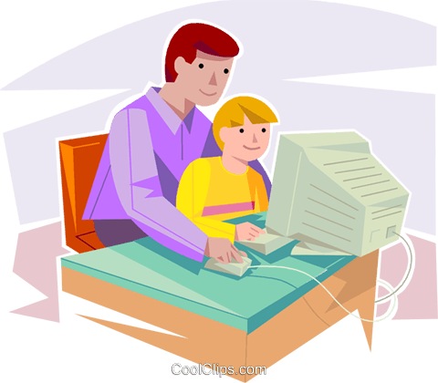 father and son working on a computer Royalty Free Vector.