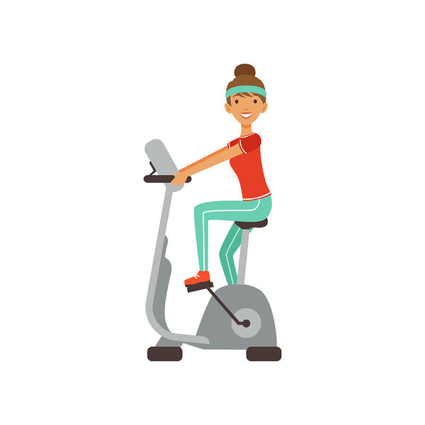 Young Woman Character Training On An Exercise Bike, Girl Working Out In The  Fitness Club Or Gym Colorful Vector Illustration Art Print.