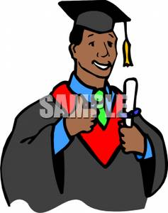 A Young African American Man Graduating.