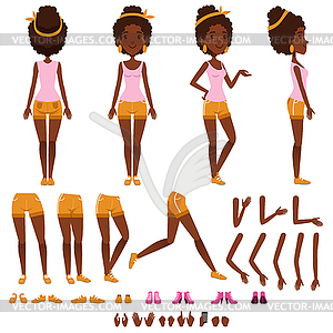 Afro american young woman character creation set,.