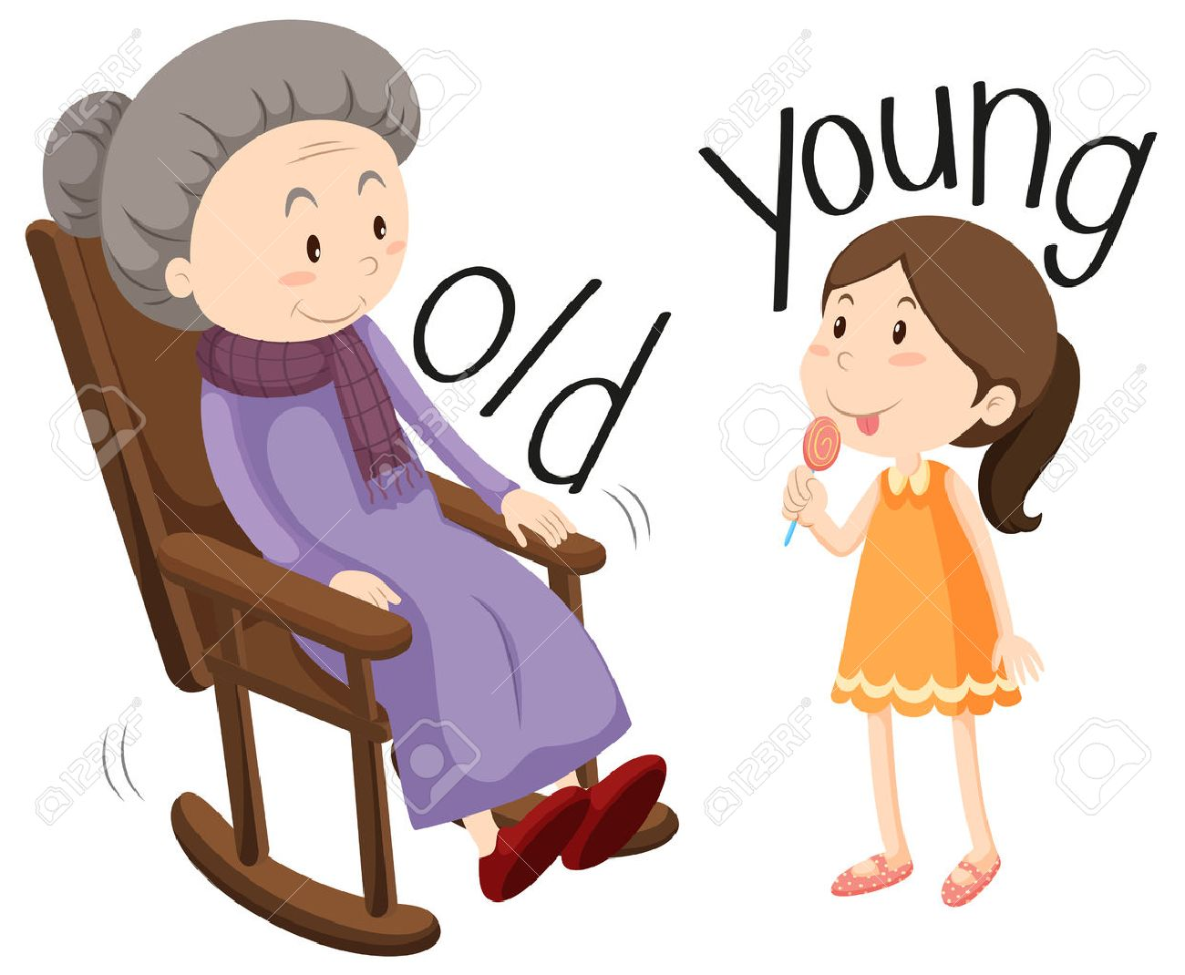 Old woman and young girl illustration.