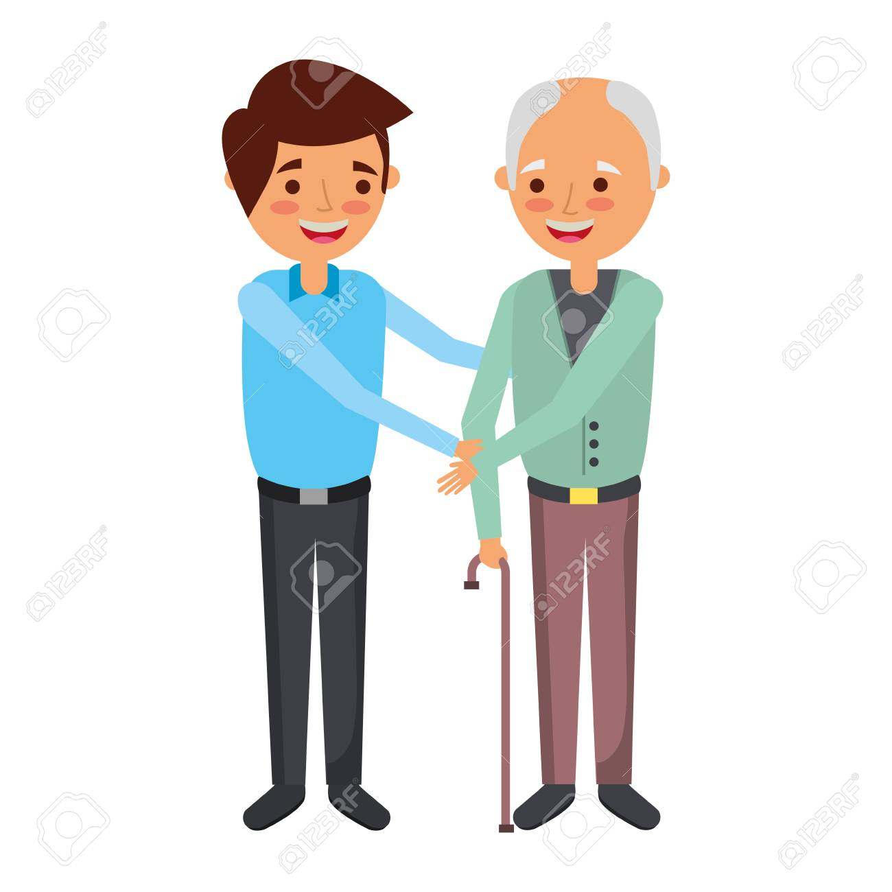 Young man with old man holding hands vector illustration.