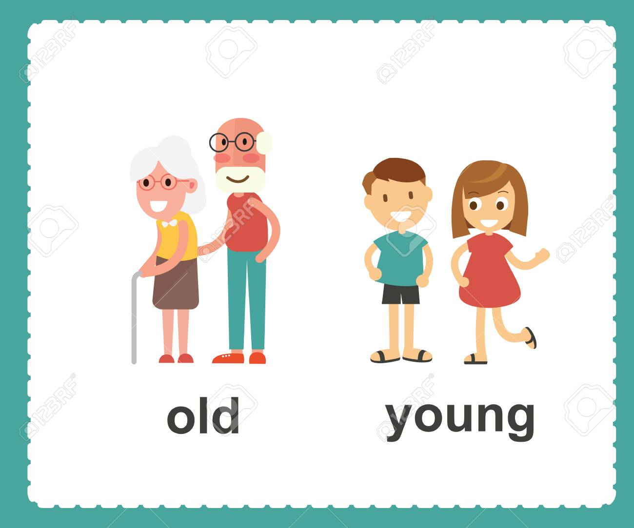 Opposite English words showing old and young vector illustration.