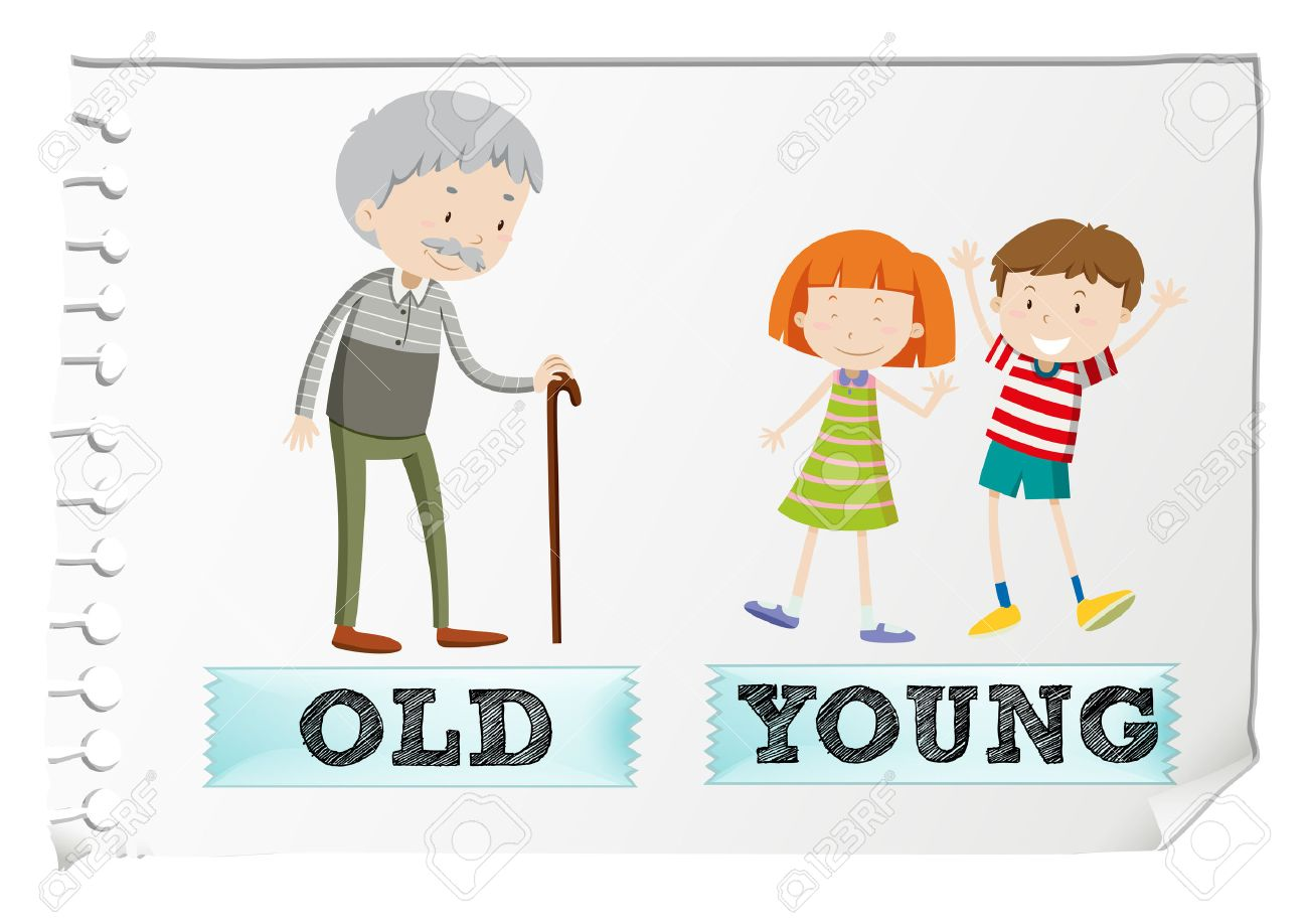 Opposite adjectives with old and young illustration.