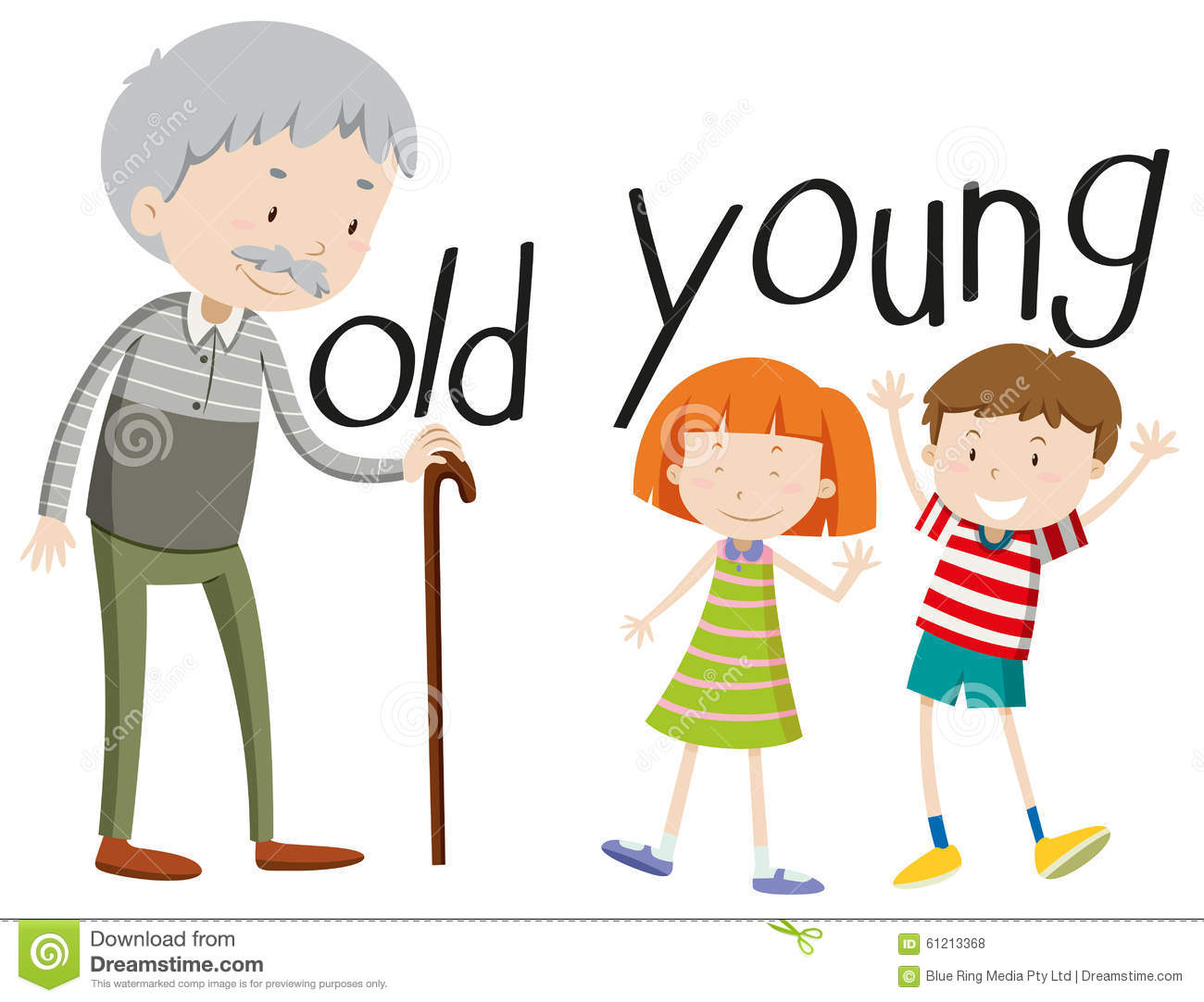 Young And Old People Clipart.