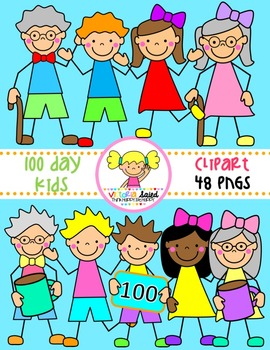 100 Day Kids Clipart.