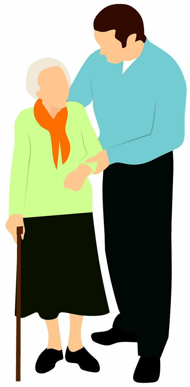 Old woman and young man clipart. Free download..