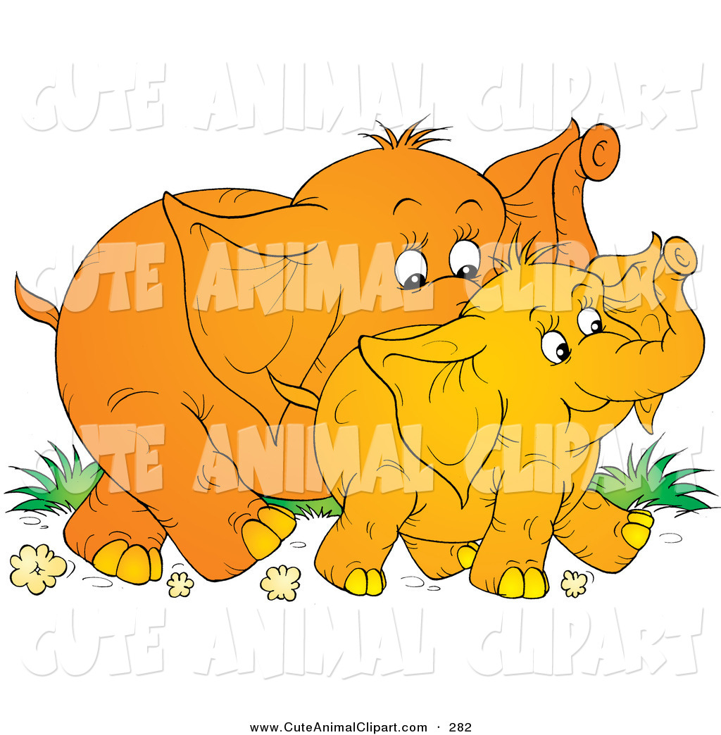 Clip Art of a Cute Young Baby Elephant Walking with Its Mother, on.