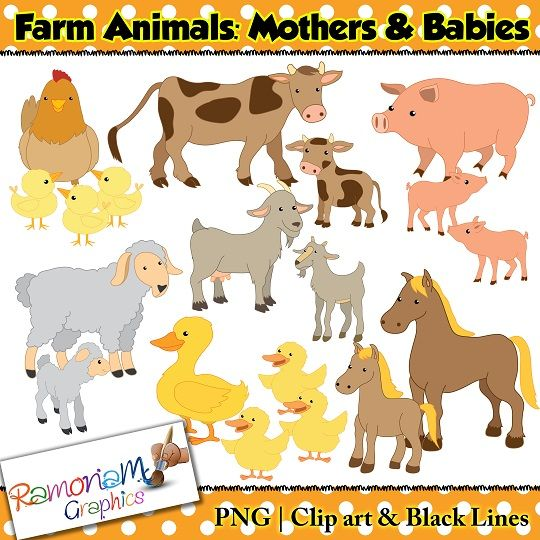 Clipart images of animals and their young ones.
