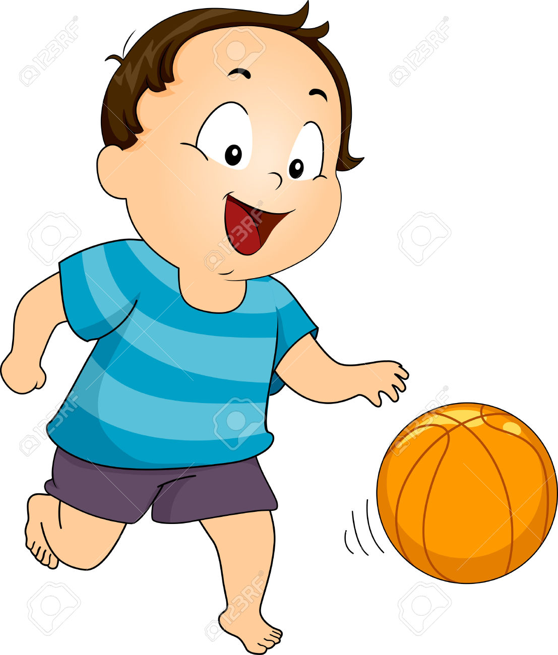 Illustration Of A Young Boy Playing With A Basketball Stock Photo.