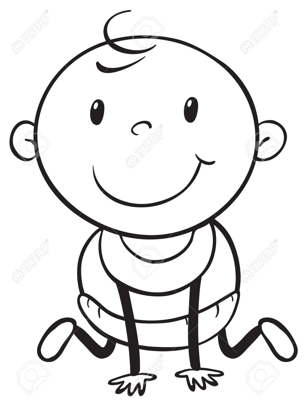 Young Baby In Black And White Outline Royalty Free Cliparts.
