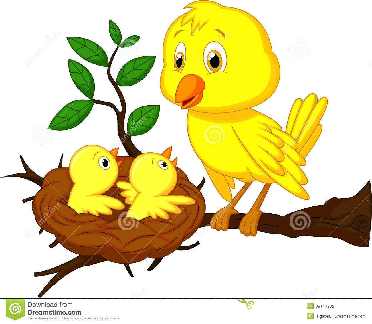Baby bird in nest clipart.
