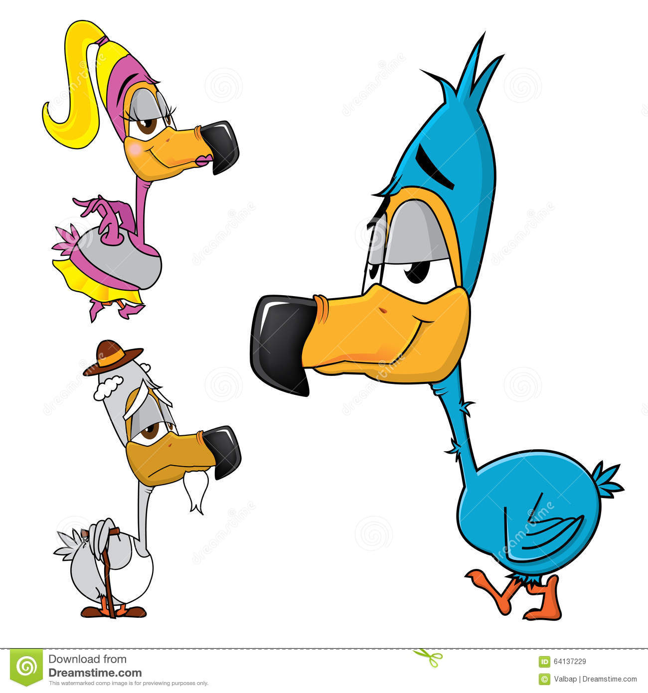 Dodo Family, Cartoon Of A Birds Family With A Tender And Gentle.