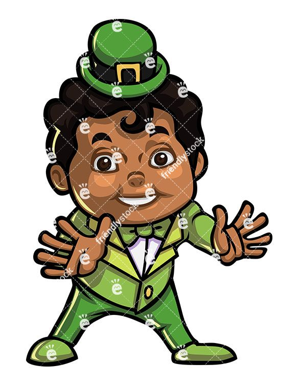 A Young Black Boy Dressed Up As A Leprechaun For Halloween.