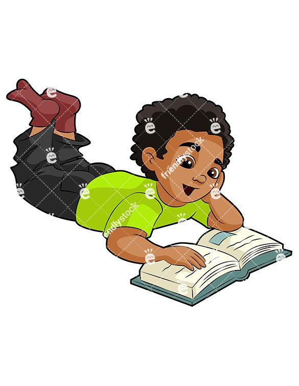A Young Black Boy Relaxing On The Floor With A School Book.