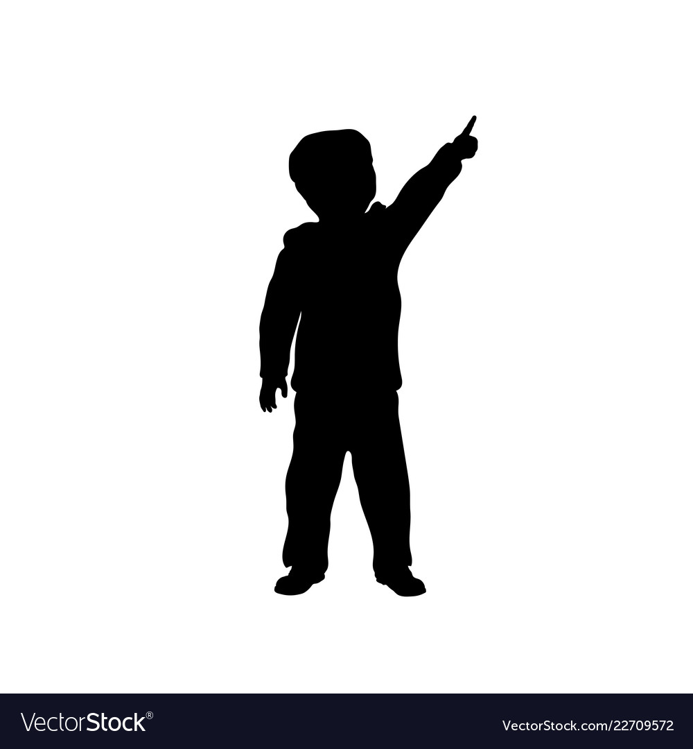Black silhouette of little boy pointing to sky.
