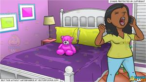A Very Angered Black Woman Talking On The Phone and Young Girls Bedroom  Background.