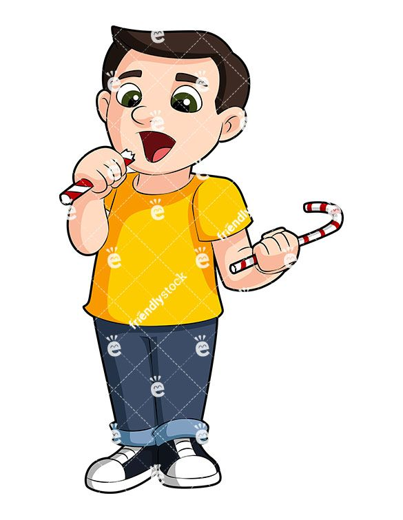 A Young Boy Eating Candy.