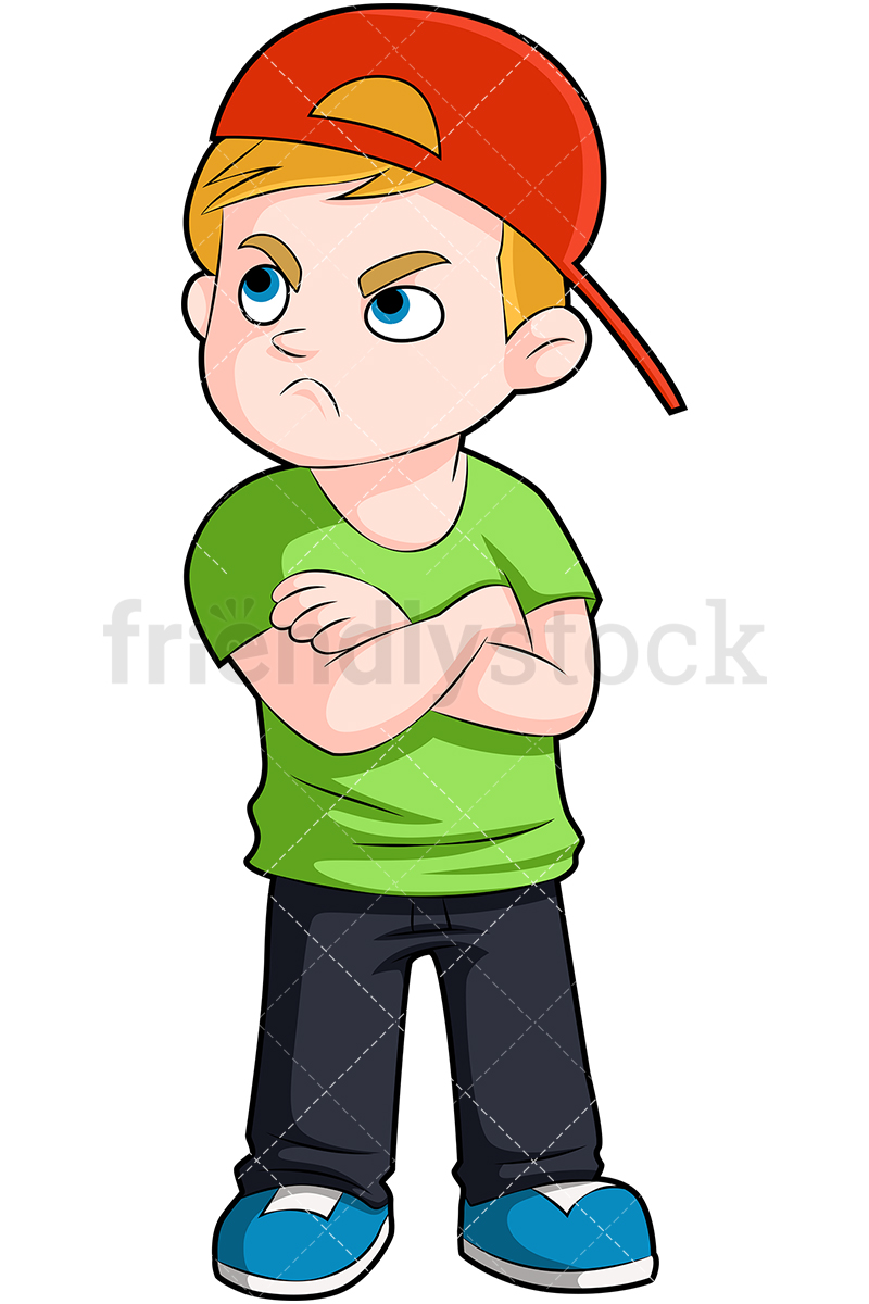 An Upset Young Boy In A Baseball Cap With His Arms Crossed.