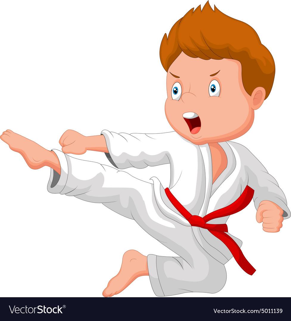 Little boy training karate.