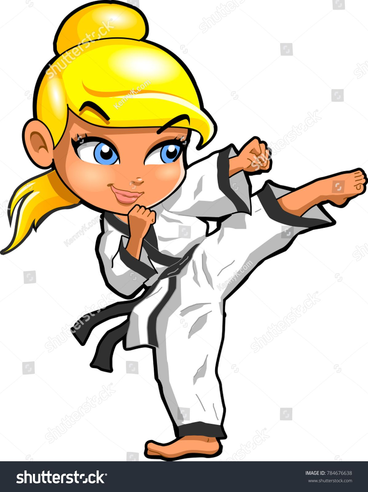 Karate martial arts tae kwon do dojo vector clipart cartoon.