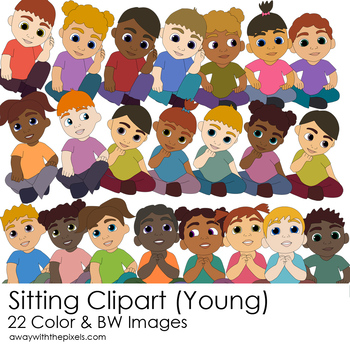 Young Kids Sitting Clipart.