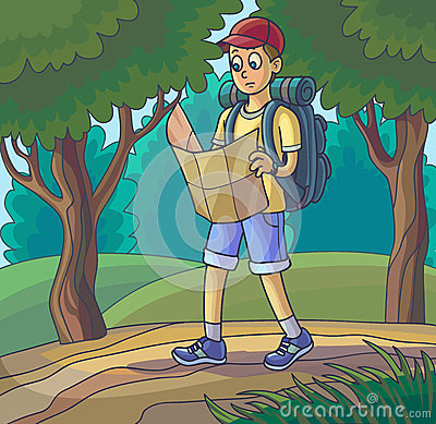 Young Boy Enjoys Walking Forest Stock Illustrations.