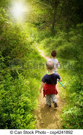 Stock Photo of young children walking in forest csp4241892.