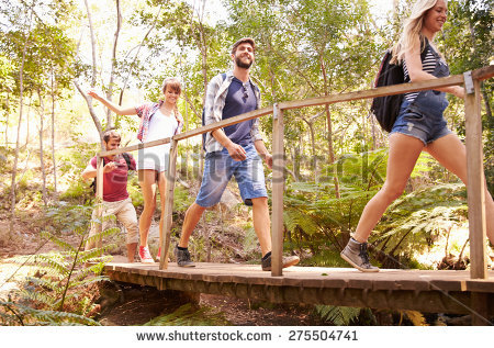 Group Friends On Walk Crossing Wooden Stock Photo 275521484.