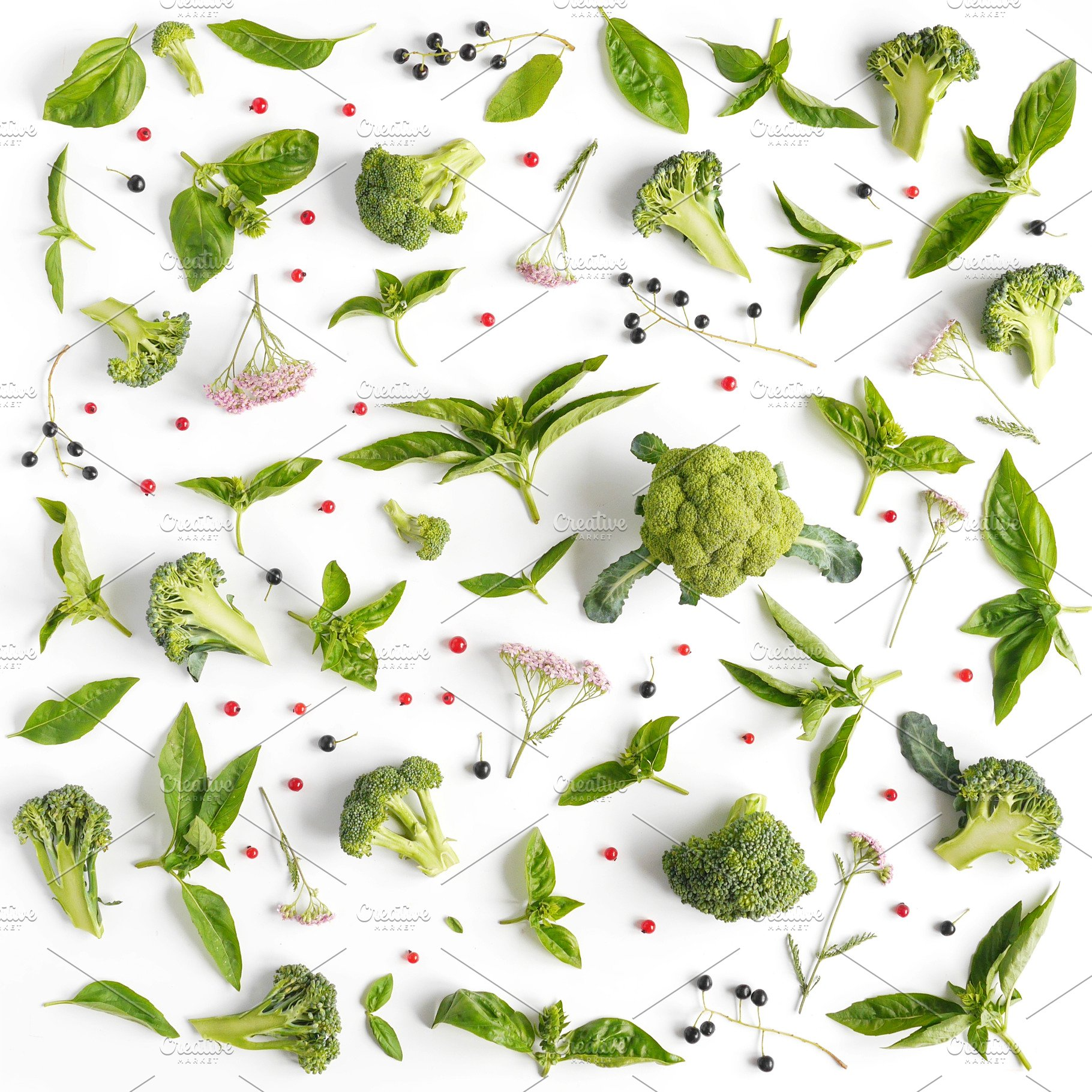 Green basil leaves and broccoli.