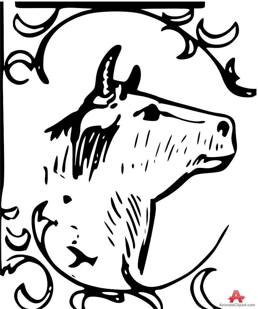 Young Bull Outline Clipart Logo.