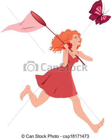 Vectors Illustration of Girl chasing butterfly.
