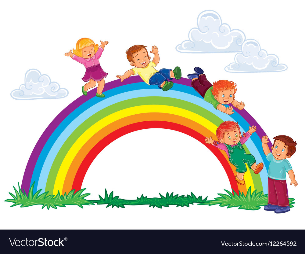 Carefree young children slide down the rainbow.