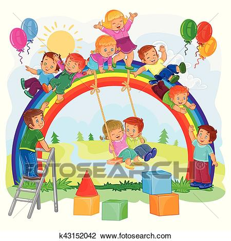 Carefree young children playing on the rainbow Clipart.