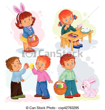 Set clip art illustrations with young children on Easter theme.