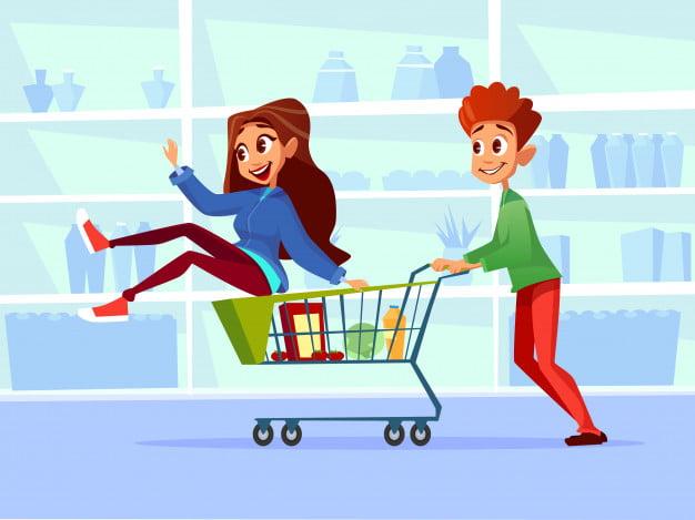 Couple riding supermarket shopping cart. eps file.