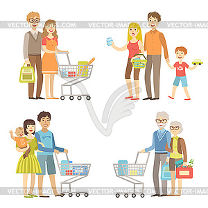 Families Grocery Shopping Together.