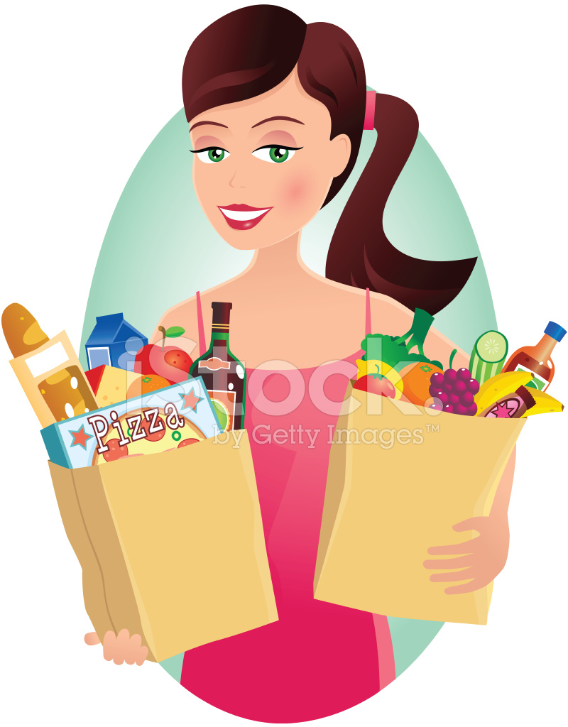 Woman With Grocery Shopping IN Paper Bags Stock Vector.
