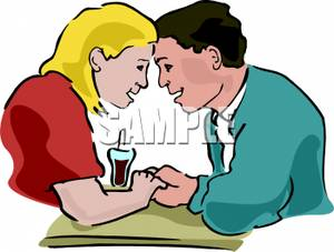 A Colorful Cartoon of a Young Couple Dating.