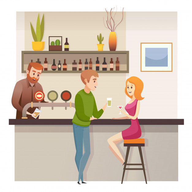 Young couple date in restaurant bar or pub vector Vector.