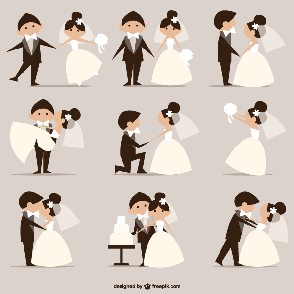 Wedding Pictures, Newly Married Couples Vector.
