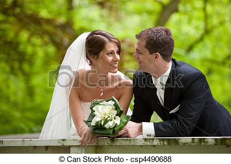 young couple getting married clipart #4