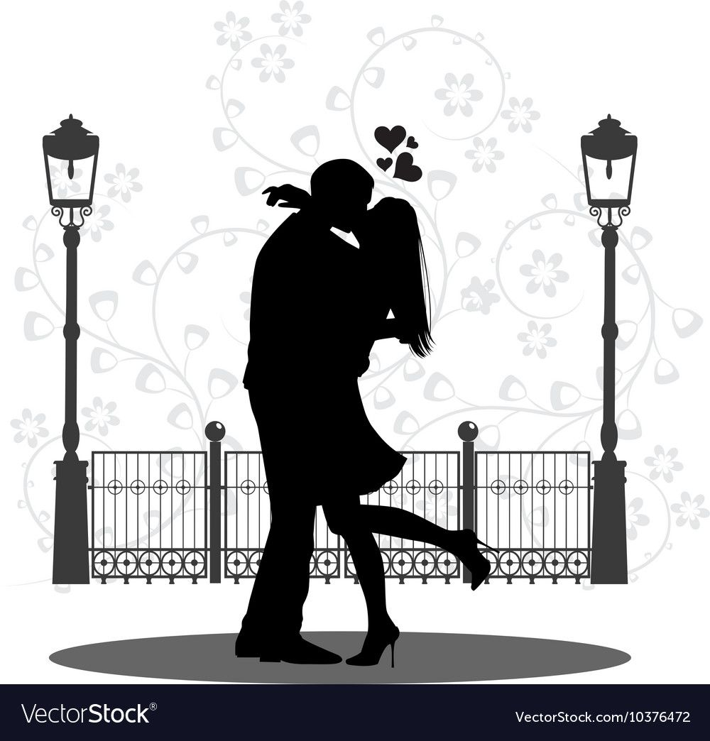 Silhouette Of A Young Couple Kissing On Street Vector Image.