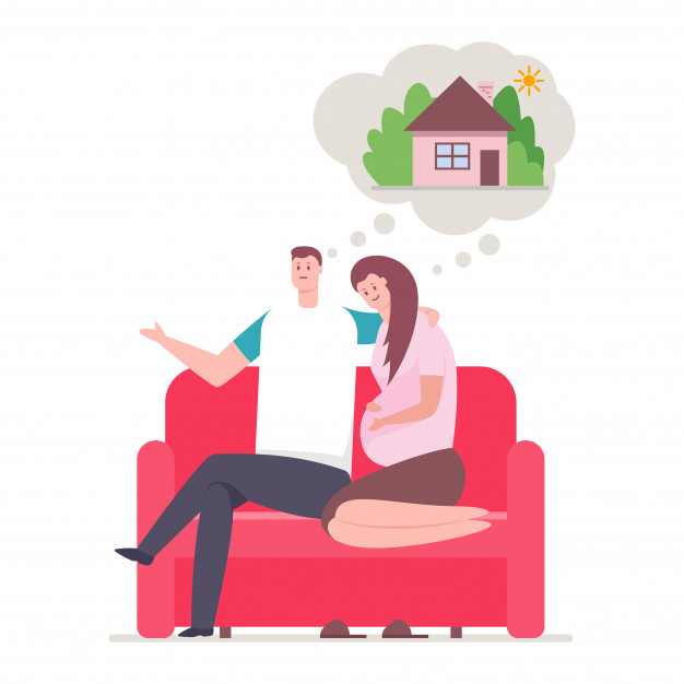 Young couple and dream about home. happy family sitting on.