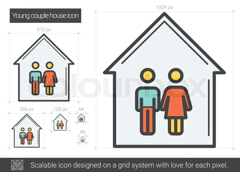 Young couple house vector line icon.